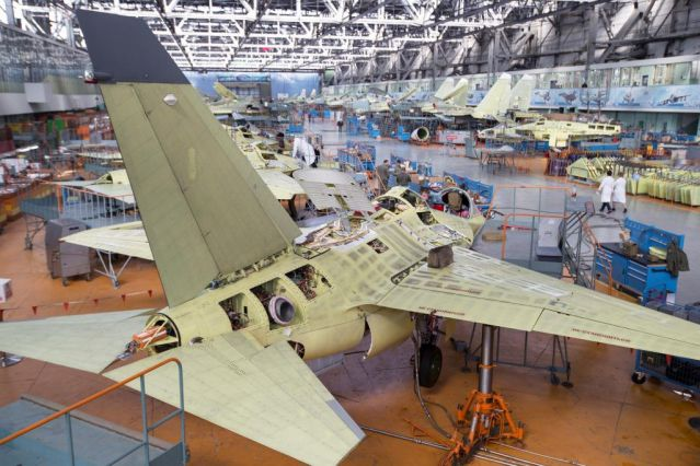Aircraft assembly line at Irkutsk aviation plant