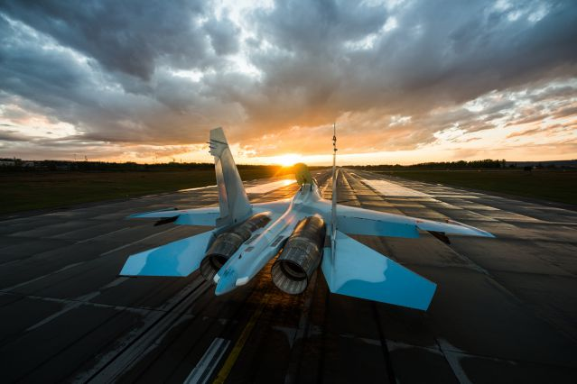 Su-30SM multirole fighter at the Irkutsk aviation plant airfiled