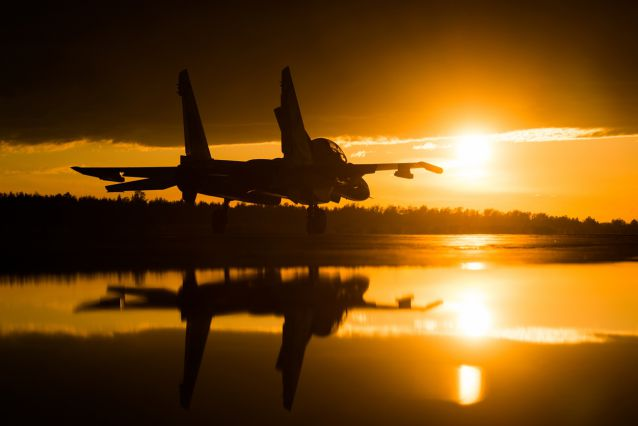Su-30SM at sunset