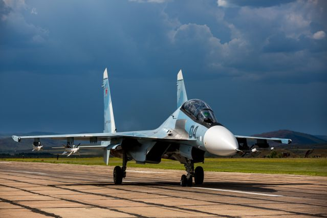 Su-30SM on the runway