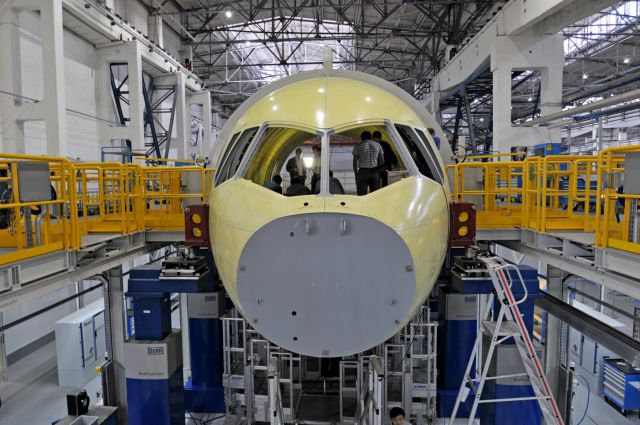 MC-21 airliner at the assembly line