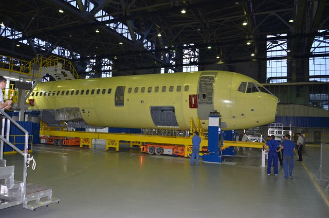 MC-21 airliner in the final assembly shop