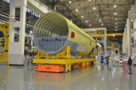 MC-21 fuselage section on the automated trolley