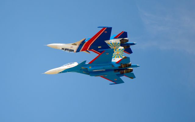 Russian Knights on Su-30SM fighters