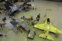 Yak-130 and Su-30SM in the final assembly shop