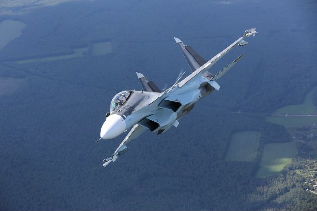 Su-30SM multirole fighter of Russian AF makes a turn